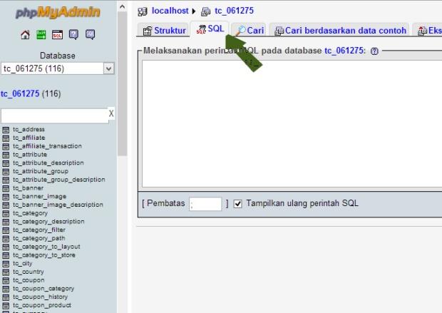 tab SQL phpMyAdmin